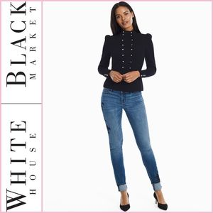 WHBM Embroidered Skinny Ankle Denim Jeans